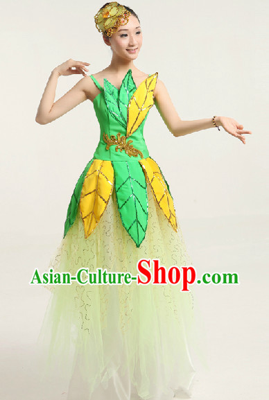 Enchanting Effect Leaf Dance Costume and Headwear Complete Set for Girls