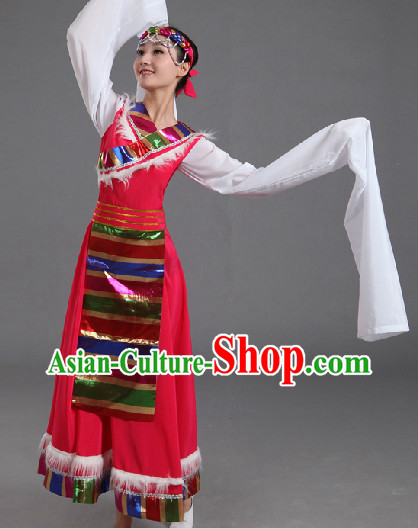 Traditional Chinese Tibet Dancing Costumes and Headwear Complete Set for Women