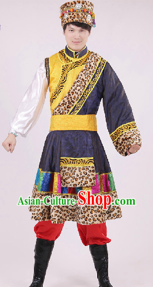 Traditional Tibet Garment and Hat Complete Set for Boys