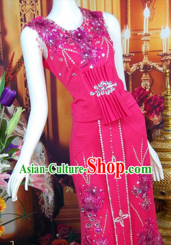 Southeast Asia Traditional Thailand Evening Dress for Women