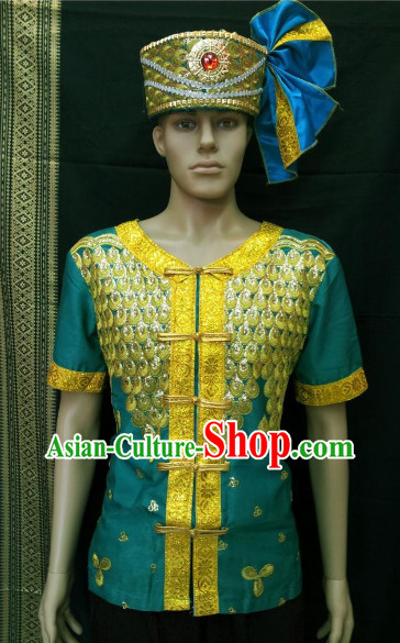 Southeast Asia Traditional Thailand Blouse and Hat for Men