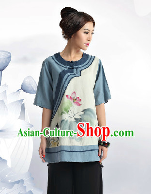 Hands Painted Mandarin Traditional Lotus Clothing for Women