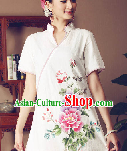 Hands Painted Peony Mandarin Traditional Garment for Women