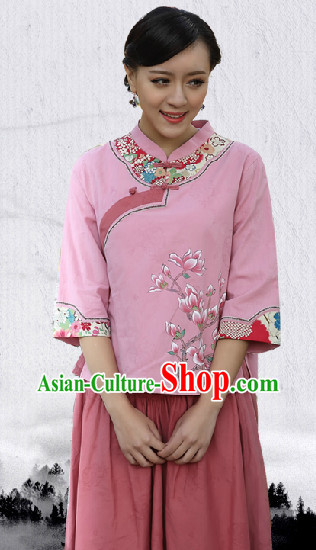 Hands Painted Mandarin Traditional Suit for Women
