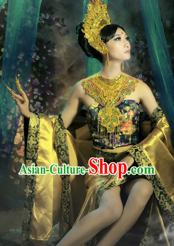 Asian Empress Clothes and Headwear Complete Set