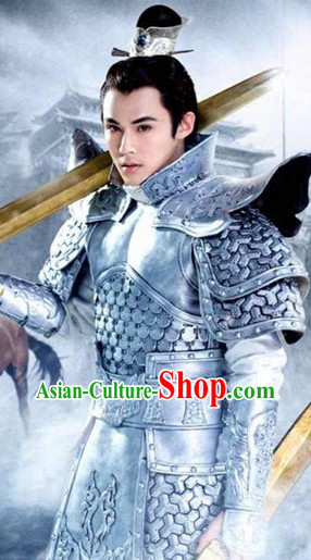 Ancient Chinese General Armor Costumes and Coronet Complete Set