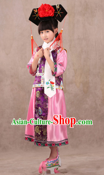Qing Dynasty Princess Costume and Headwear for Children