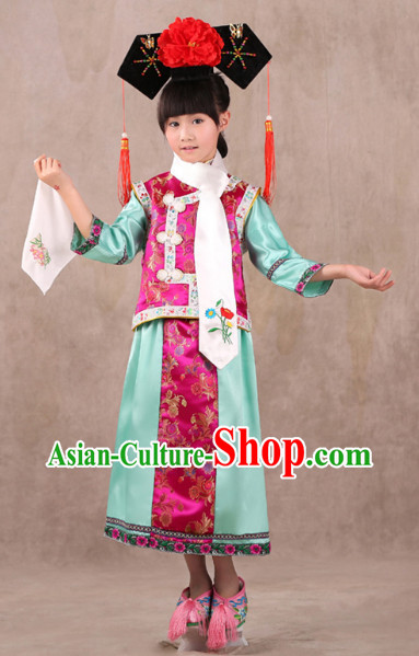 Qing Dynasty Princess Costumes and Headwear for Children