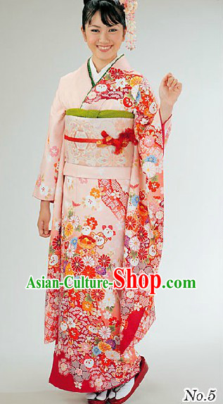 Traditional Japanese Pink Furisode Kimono for Women