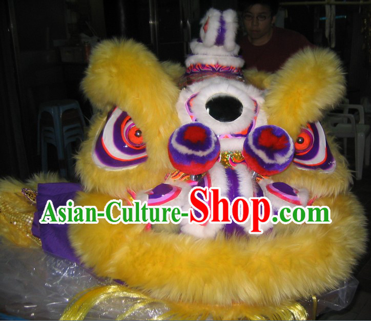 Yellow Wool Traditional Chinese Hok San Lion Dance Costumes Complete Set
