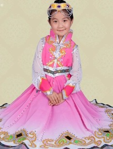 Traditional Chinese Mongolian Dresses and Headpiece for Children