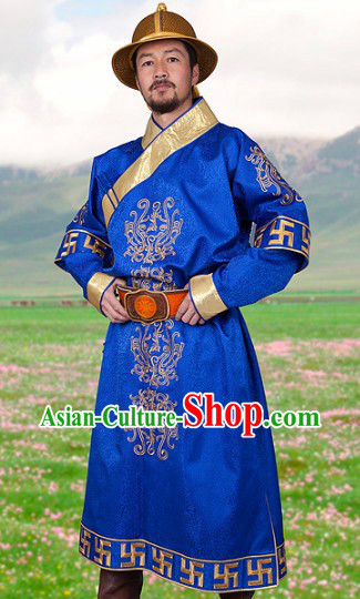 Ancient Chinese Genghis Khan Mongolian Emperor Clothing and Hat for Men