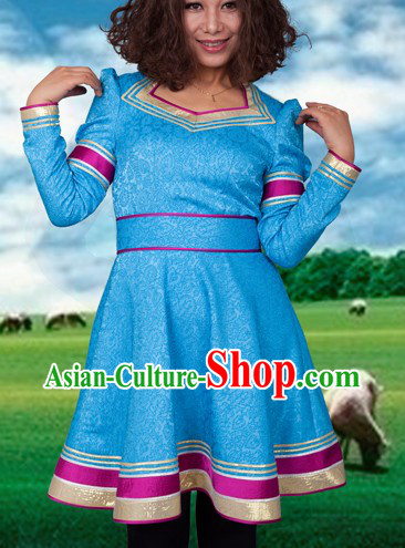 Traditional Chinese Mongolian Blue Skirt for Women