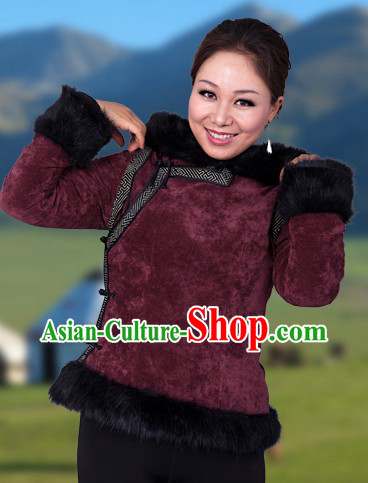 Traditional Chinese Mongolian Winter Jacket for Women
