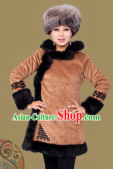 Traditional Chinese Mongolian Winter Long Jacket and Hat for Women