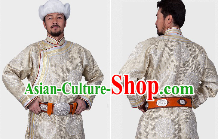 Traditional Chinese Mongolian Long Robe Clothing and Hat for Men