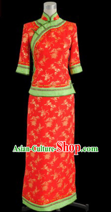 Chinese Classical Red Xiu He Wedding Toasting Blouse and Skirt for Brides