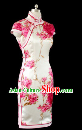 Chinese Silk White Cherry Blossom Qipao