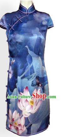 Chinese Silk Blue Lotus Qipao