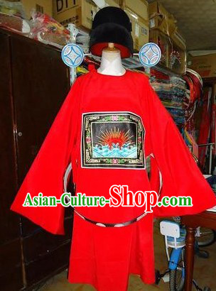 Traditional Chinese Stage Performance Opera Clown Costumes and Hat for Men