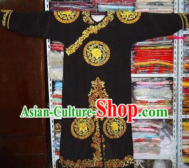 Chinese Beijing Opera Tuan Hua Embroidered Black Jian Yi Robe for Men