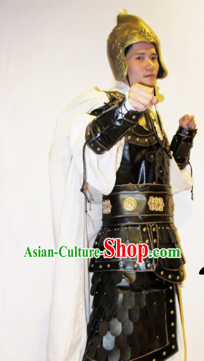 Ancient Chinese Film Zhao Yun Armor Costumes and Hat for Men