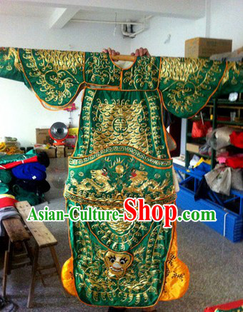 Traditional Chinese Green Peking Opera Embroidered Armor General Costumes
