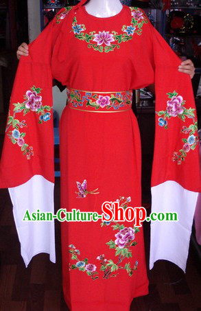 Round Collar Peking Opera Embroidered Flower Ancient Chinese Yong Men Costumes