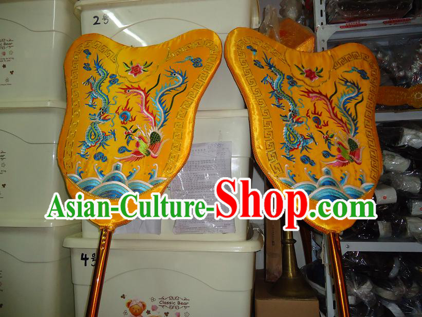 Traditional Chinese Festival Celebration Parade Embroidered Dragon Phoenix Fans Pair