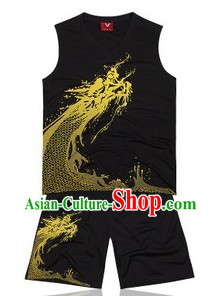 Traditional Black Dragon Dance Player Suit