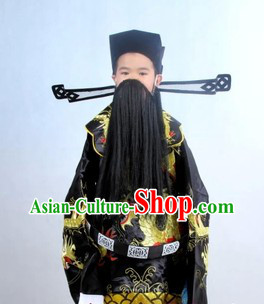 Traditional Chinese Black Embroidered Dragon Costumes Mang Pao and Hat Complete Set for Kids