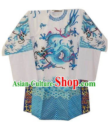 Chinese White Embroidered Dragon Robe
