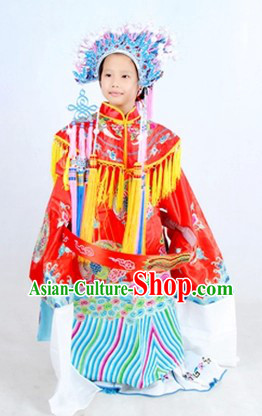 Traditional Chinese Phoenix Wedding Dress and Phoenix Coronet Complete Set for Children