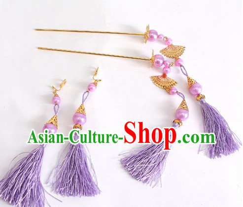 Ancient Chinese Purple Hanfu Style Hairpins and Earrings