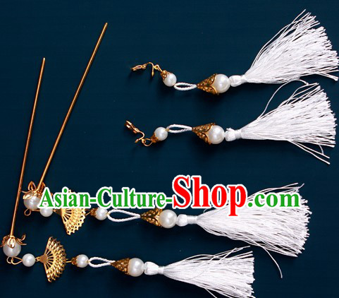 Ancient Chinese White Hanfu Style Hairpins and Earrings