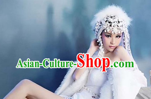 Ancient Chinese White Fox Sexy Lady Hair Accessories and Costumes Complete Set