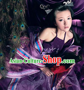 Traditional Chinese Purple Empress Costumes Complete Set