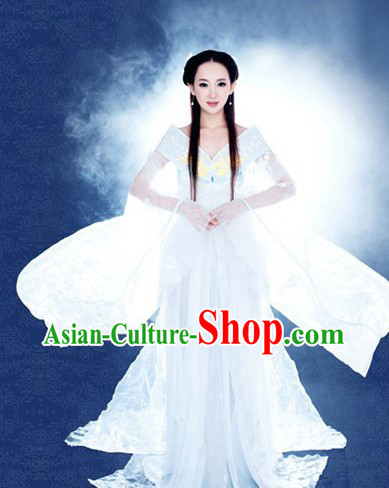 Ancient Chinese White Fairy Low Collar Costumes and Headpieces