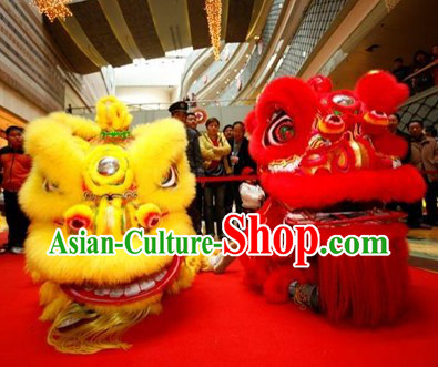 Supreme Red and Yellow Hoksan Lion Dance Costumes Complete 2 Sets