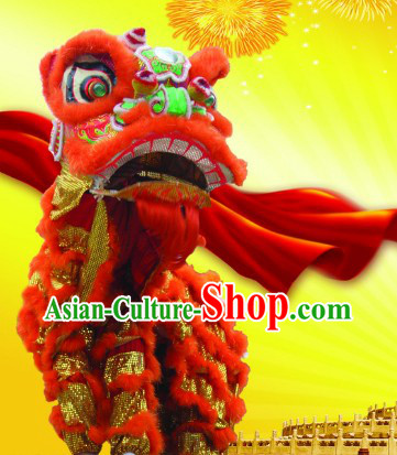 Supreme Red Gold Futsan Handmade Lion Dance Costumes Complete Set