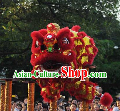 Red and Gold Classic Lion Dance Chinese New Year Costumes Complete Set