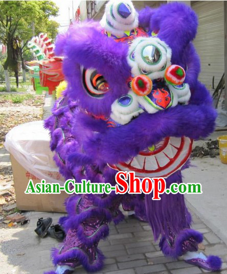 Purple Wool Lion Dance Game Costume Complete Set