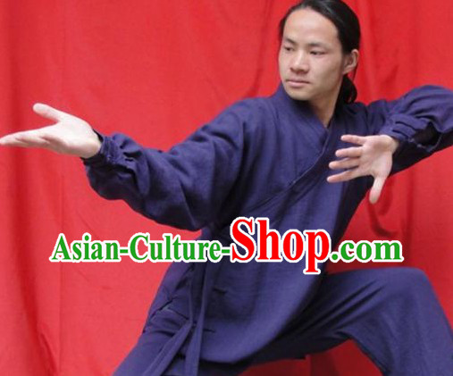Top Quality Deep Blue Natural Flax Mandarin Chinese Martial Arts Outfit