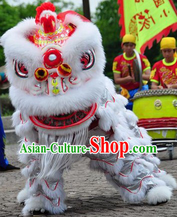 Friendly Red Ribbon Stunning Beautiful Hok San Lion Dance Costumes Complete Set