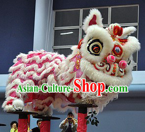 Beautiful Friendly Pink and White HOK San Lion Dance Head and Costume Complete Set