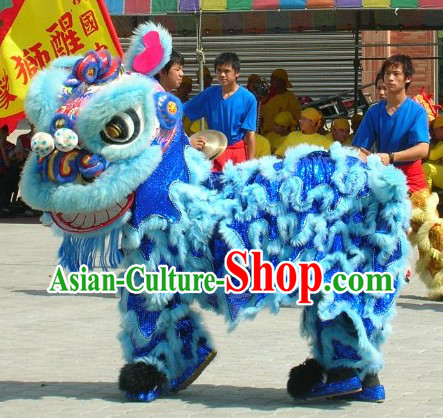 Light Blue Handmade Lion Dance Costume Complete Set