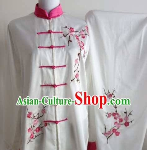Plum Blossom Embroidery Long Sleeves Wushu Uniform Complete Set