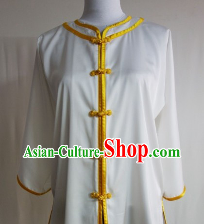 White Silk Shirt Pants and Belt Kung Fu Practice Uniform Complete Set