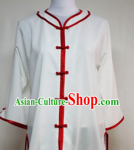 White Silk Shirt Pants and Belt Kung Fu Practice Outfit Complete Set