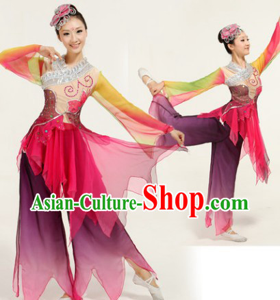 Ai Lian Shuo Lotus Legend Classical Dance Costumes and Headwear Complete Set